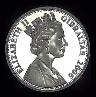Гибралтар 5 фунтов 2006 пруф серебро 28,28 925 пробы 80 летие королевы