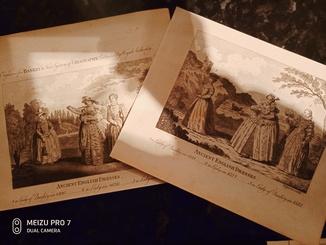 1789 2 Гравюры Античные Английские Платья