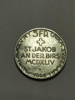 5 франков 1944 Швейцария, 500 летие битвы у Сент Якобса, серебро
