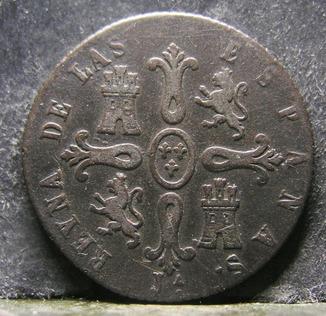 Испания 8 мараведи, 1850