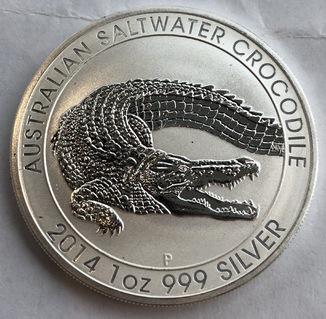 1 $ 2014 год Австралия «Крокодил» серебро 31,1 грамм 999,9'