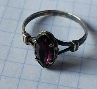 Серебро 875 пробы, кольцо с камнем, период ссср.