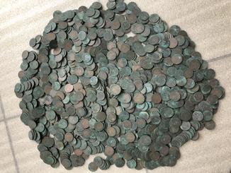 Клад мідних царських монет ( 1655 штук )