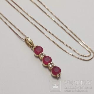 Золотая подвеска с натуральными рубинами и бриллиантами