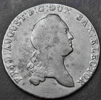 Саксония , Фридрих Август I . 1 талер 1776 - EDC, XF, серебро