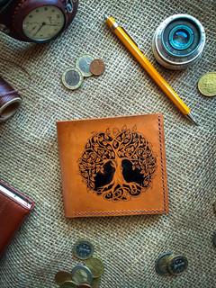 Гаманець з настуральної шкіри з малюнком ручної роботи