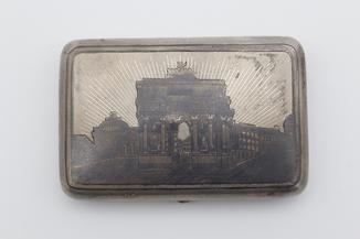 Серебряный портсигар 84 проба, чернь. Триумфальная арка
