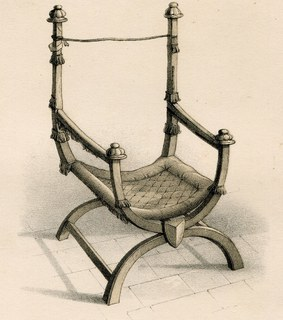 Гравюра. Англия. 28х19см, Старинное Коронационное кресло, артефакт Йоркского собора