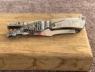 Выкидной нож авторская работа голова дракона