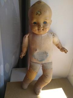 Кукла пупс с рельефными волосами из прессованных опилок 36см.