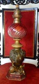 Керосиновая лампа, работа Огюст Моро, конец ХІХвека, бронза
