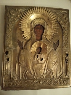 Икона Богоматерь Знамение в бронзовом окладе