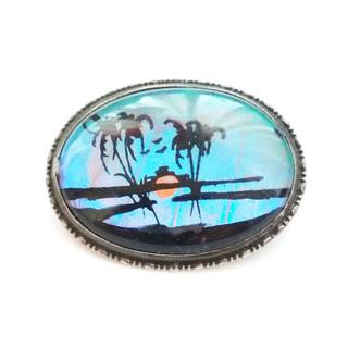 Винтажная серебряная брошь с крылом тропической бабочки