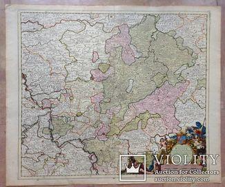 1710 Германия. Карта. HESSEN VAN DER KEULEN. Большая.