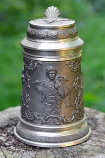 """Оловянная пивная кружка """"Удачливый Охотник"""", богатый декор, Германия"""