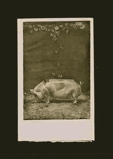 Левицкая Г. Год Свиньи, мягкий лак, акварель 10x14,5 1982г.