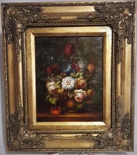 Картина. Букет цветов . Масло. Подпись автора. Европа