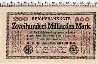 200 миллиардов марок 1923 год. Германия. Очень хорошие.