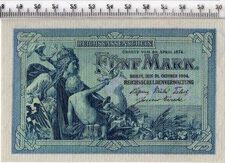 5 марок 1904 год. Германия. UNC.