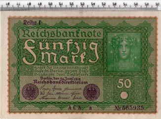 50 марок 1919 год. Рейх 1. Германия. UNC.