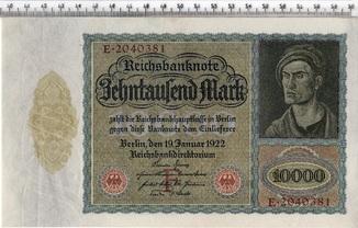 10 тысяч марок 1922 год. Большой размер. Германия.