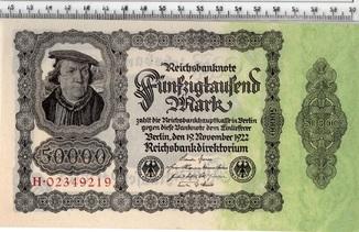 50 тысяч марок 1922 год. Германия. UNC.