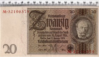 20 марок 1924-29 год. Германия. UNC.