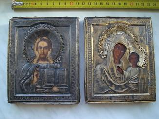 Иконы пара (венчальная), серебряный оклад 84 пр.
