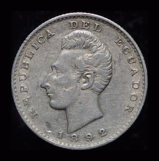 Эквадор 2 децимос де сукре 1892 серебро