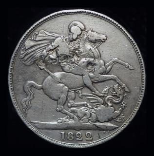 Великобритания крона 1822 серебро надчекан