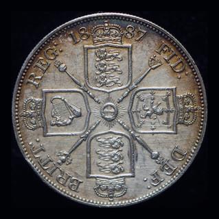 Великобритания двойной флорин 1887 аUnc серебро