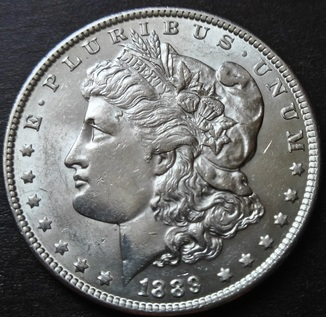 1 Доллар 1889. Морган. Серебро. AU