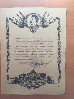 Благодарность за прорыв обороны Бобруйского направления ,1944г.