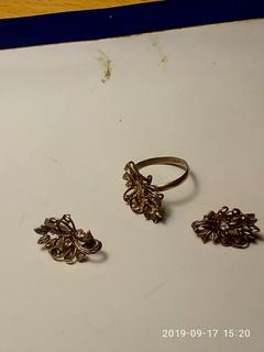 Набор сережки и кольцо серебро 925 пробы с камнями