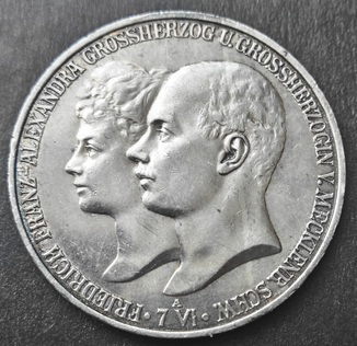 Мекленбург-Шверин 5 марок 1904 г.,  'Свадьба Герцога Фридриха Франца IV'