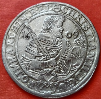 1 талер 1609 год. Саксония, Кристиан II, Иоганн Георг I и Август (1591-1611).