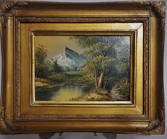 Картина. Масло, горный пейзаж . Подпись автора Kenrieth