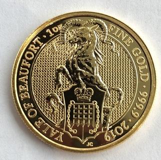 100 фунтов 2019 год Англия золото 31,1 грамм 999,9'
