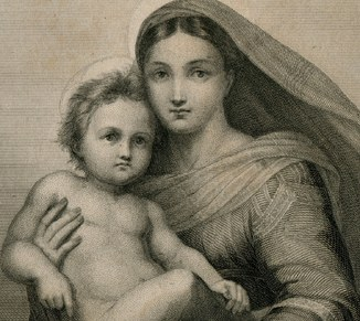 Гравюра. Рафаэль. Сикстинская мадонна. Около 1860. Издательство Stich d. Manz Kunstverlag