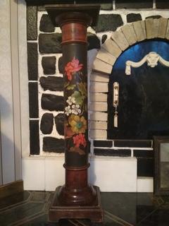 Колонна антикварная росписная 106,5 см дореволюционная подставка под скульптуру часы