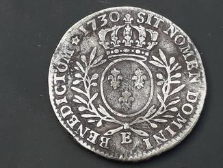 1/2 экю, Франция, 1730 год, Людовик XV, серебро 0.917, ~14 грамм