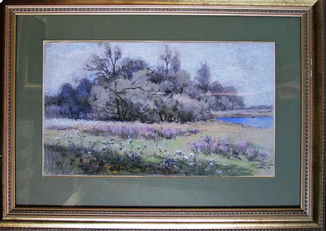 Горобец П. М. Пейзаж. 53*72 см.  Рама со стеклом.