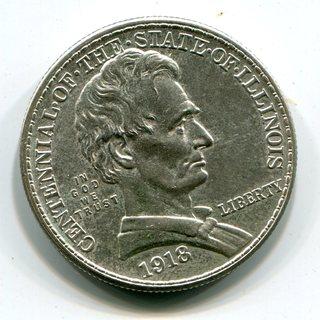 50 центов 1918 г. Полдоллара 100 лет штату Иллинойс