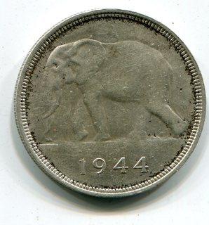 Бельгийское Конго. 50 франков 1944 г. Серебро