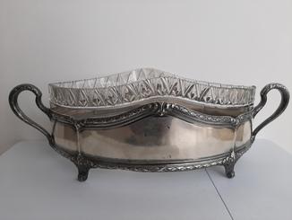 Старинная Большая серебряная Фруктовница ( Хрусталь , Серебро )