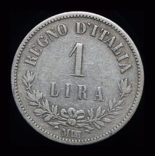Италия 1 лира 1863 М серебро