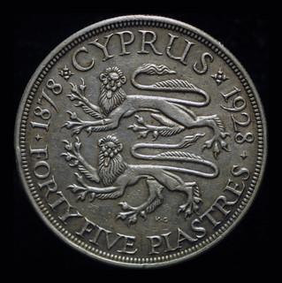 Британский Кипр 45 пиастров 1928 aUnc серебро 28,28 грамм 925 пробы