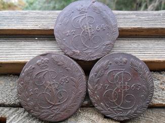 5 копеек 1763,1764,1765 ЕМ.