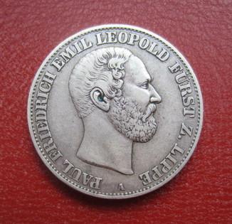 1 Талер, Липпе-Детмольд 1866 год. Пауль Фридрих Эмиль Леопольд III. Серебро.