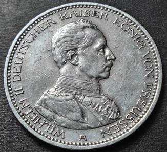 5 марок 1913 года А, Пруссия Вильгельм II, мундир, серебро